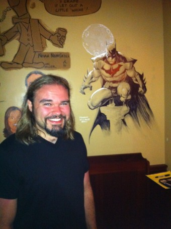 Freddie Williams II and his Batman sketch at The Palm