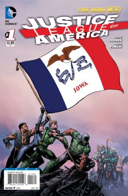 Justice League of America 1 cover Iowa edition
