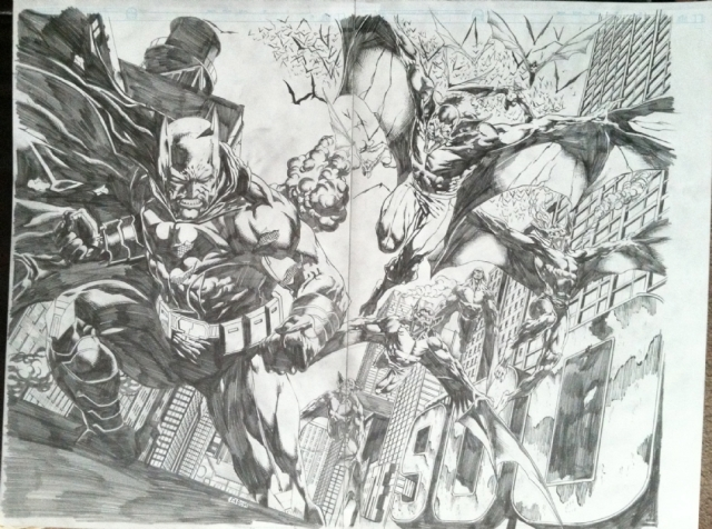 Original Jason Fabok comic art pencils for Detective Comics 19