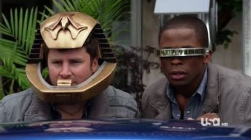Shawn and Gus with sci-fi props