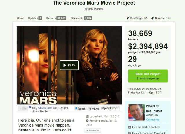 Veronica Mars movie project on Kickstarter