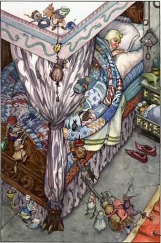 Wizard's Tale--Incredible detail of bedroom by David Wenzel