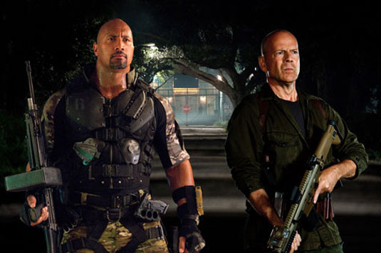 Dwayne Johnson and Bruce Willis in GI Joe Retaliation