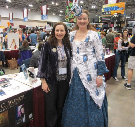 EC Bunce and Kate McCormick in 1880s TARDIS Polonnaise bussel gown