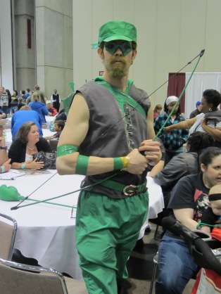 Green Arrow costume at Planet Comicon 2013