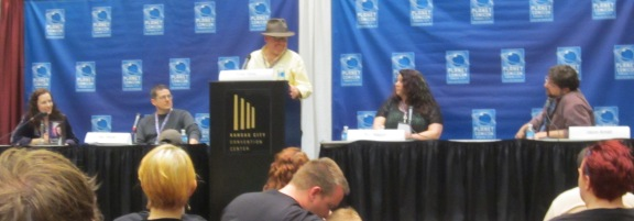 Novel writing panel at Planet Comicon 2013.