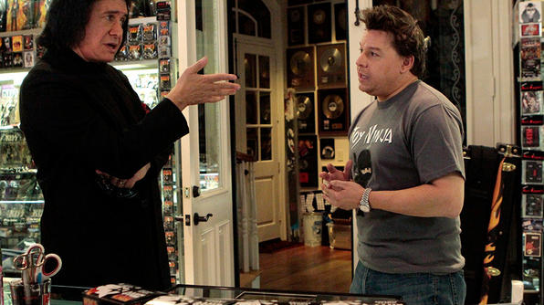 Toy Hunter Jordan looking for KISS toys with Gene Simmons