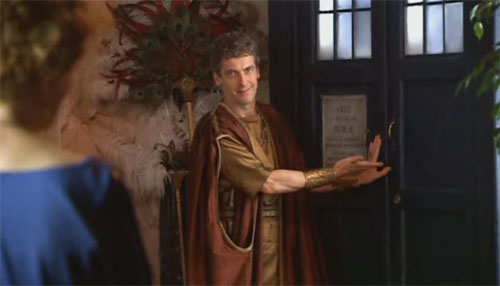 Capaldi with TARDIS in Doctor Who 2008