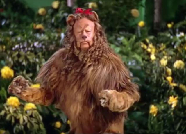 Cowardly Lion with savoir faire
