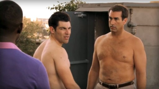 Greenfield and Riggle in New Girl episode Parents