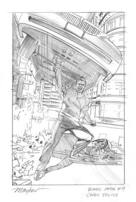Bionic Man 19 original cover art Mike Mayhew