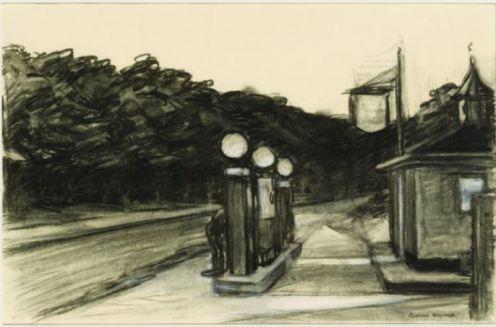 Edward Hopper original sketch night scene