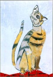 Lieutenant Cdr Data cat spot painting in style of Picasso