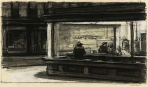 Original sketch Edward Hopper Nighthawks