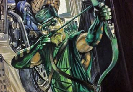 Woodward commission Green Arrow close-up