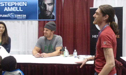 Amell and Hyatt shot