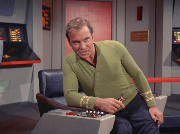 Kirk in captain chair