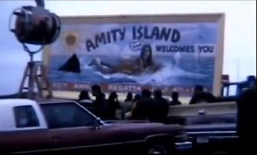 Amity Island billboard in production