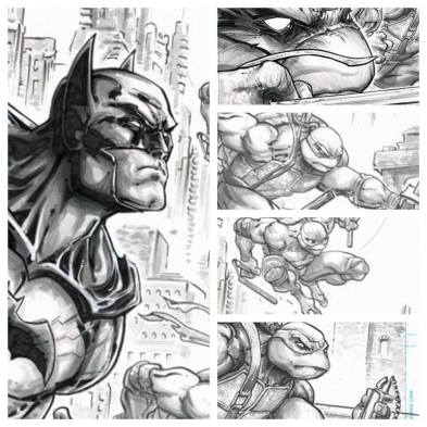 original art Freddie Williams Batman TMNT 2015 SDCC