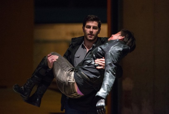"GRIMM -- ""The Rat King"" Episode 505 -- Pictured: (l-r) David Giuntoli as Nick Burkhardt, Carlson Young as Selina Golias -- (Photo by: Scott Green/NBC)"