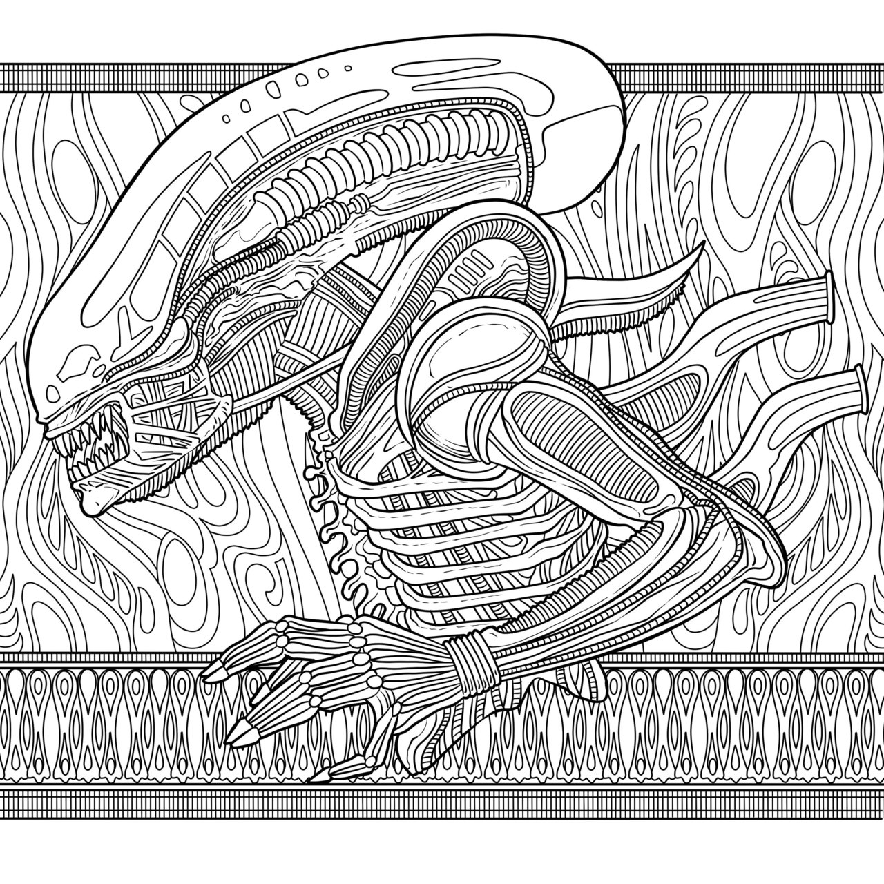 Alien the coloring book review borg com Xenomorph Alien Queen Birth Dragon Queen Coloring Pages Xenomorph Swiming