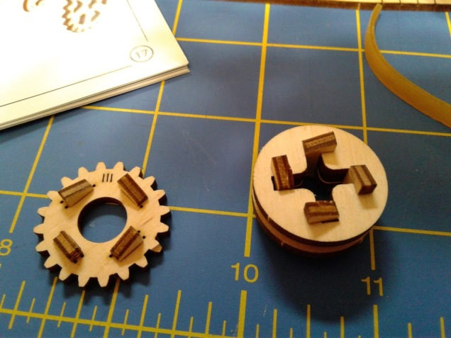 Making the gears is pretty clever, consisting of small wooden teeth that slide into place.